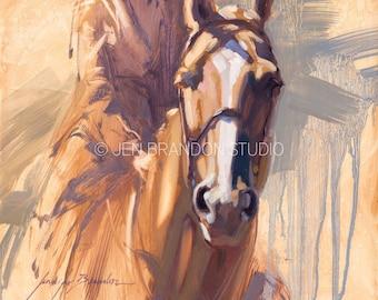 White Blaze Horse Portrait - Original Oil  Painting