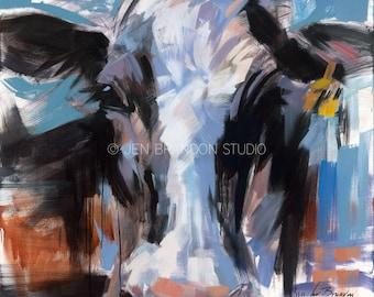 Cows on Canvas 1 - Oil Painting by Jennifer Brandon - Jache Studio