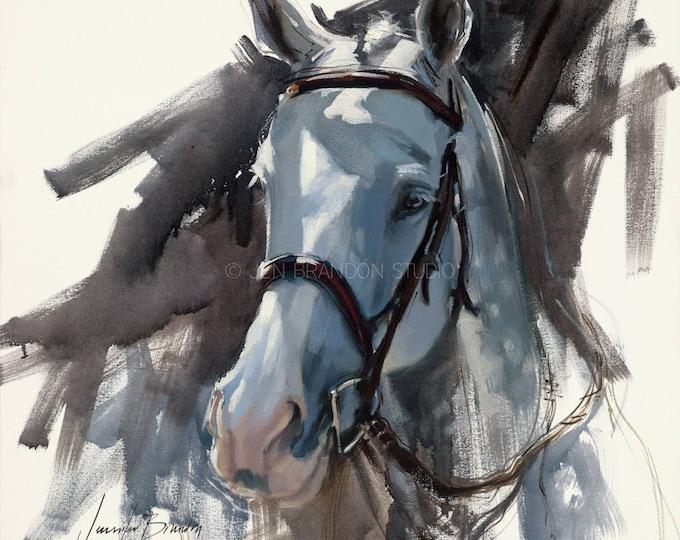 Featured listing image: Gray Horse Portrait Giclée Fine Art Print