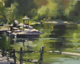 Mohonk Mountain Gazebo Reflections - Oil Painting by Jennifer Brandon - Jaché Studio