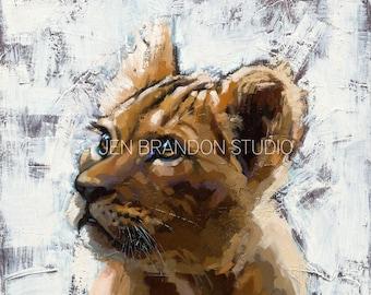 Lion Cub Portrait Home Decor Animal Portrait - Original Oil Painting