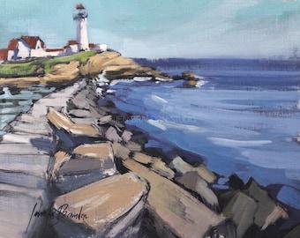 Eastern Point Lighthouse - Plein Air Oil Painting by Jennifer Brandon
