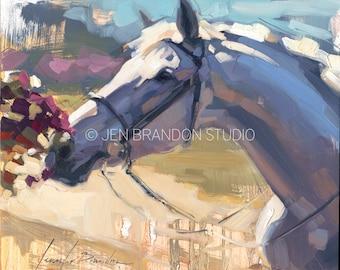 Gray Horse Portrait - Original Oil  Painting