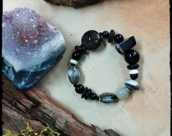 Black Agate Boho Gypsy Bracelet, Protection, Wisdom