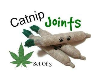 Cat Toys - Felt Catnip Joints - Set Of 3  - Available in Catnip, Lemongrass, SilverVine, Valerian, and Honeysuckle