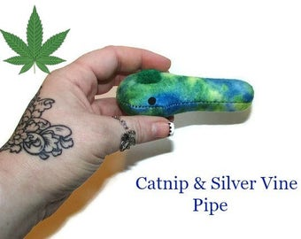 Cat Toys -  Silver Vine & Catnip Pipe - Blue And Green Tie Dye