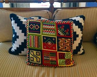 Vintage Mid Century Embroidery Throw Pillow, black geometric pattern, retro design, amazing finish