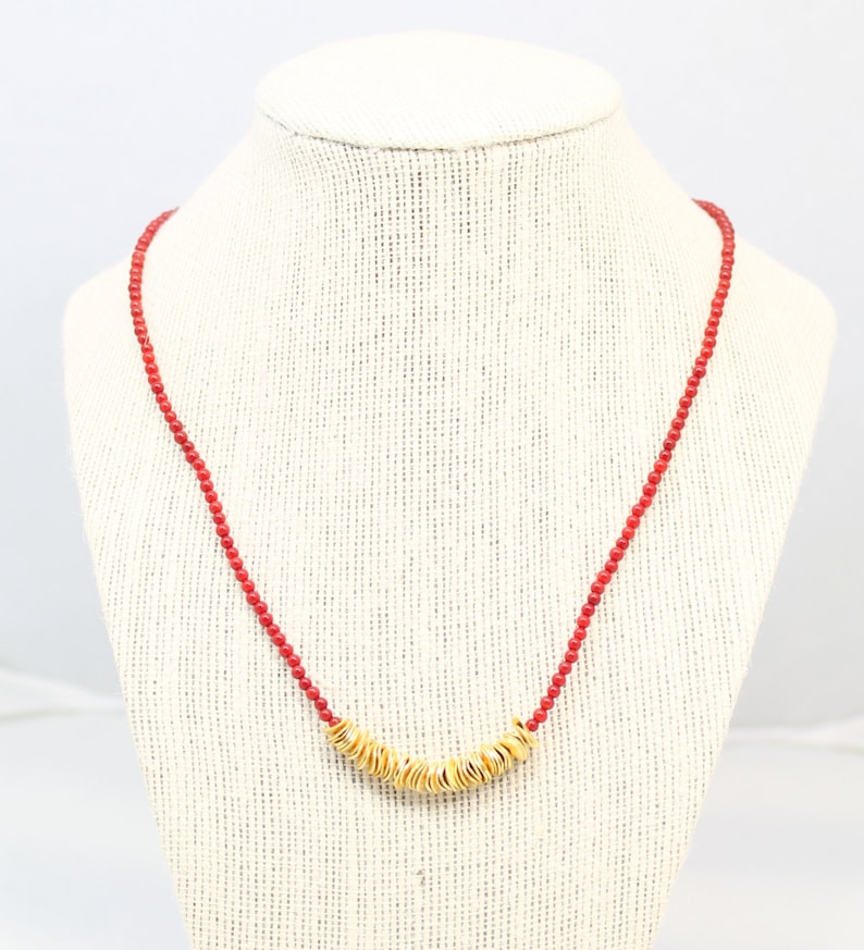 accent necklace red beaded gold disc accent necklace beaded necklace red necklace metallic gold disc beads red and black red and gold