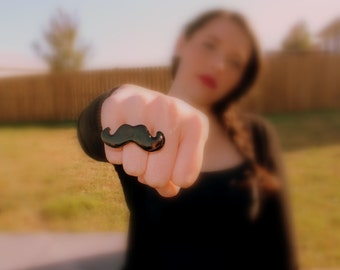 mustache ring - mustache, handlebar mustache, adjustable ring, mustache ring, moustache ring, black mustache ring, mustache jewelry, ring