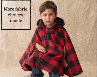Car Seat Poncho - Boys Fleece Poncho - Girls Car Seat Safe Coat with Zipper - Carseat Poncho Arm Holes - Poncho without Hood - Kids Cape