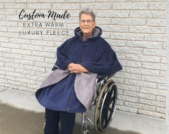 Adult Wheelchair Poncho, Extra Warm Luxury Fleece Poncho, Wheelchair Coat for Men and Ladies