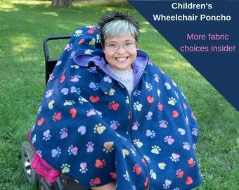 Wheelchair Poncho Kids - Wheelchair Coat - Wheelchair Cape - Winter Jacket for Wheelchair - Stadium Poncho