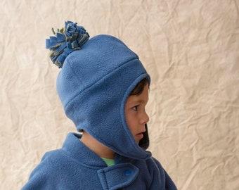 Kids Winter Hat, Baby Winter Hat, Hat with Chin Strap, Hat with Pom Pom, Fleece Hat