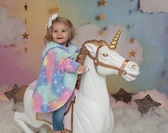Car Seat Poncho Girl - Unicorn Poncho - Princess Car Seat Coat - Extra Warm Kids Cape - Girls Car Seat Cover