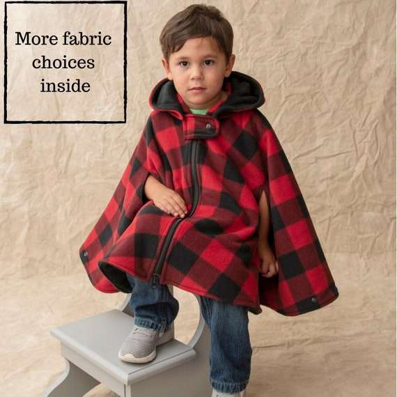 Baby Boys Girls Toddler Reversible Hooded Cape Poncho Cotton Fleece Sleeves