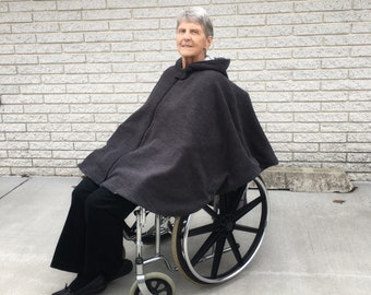 Adult Wheelchair Poncho, Wheelchair Coat Men, Ladies Fleece Cape