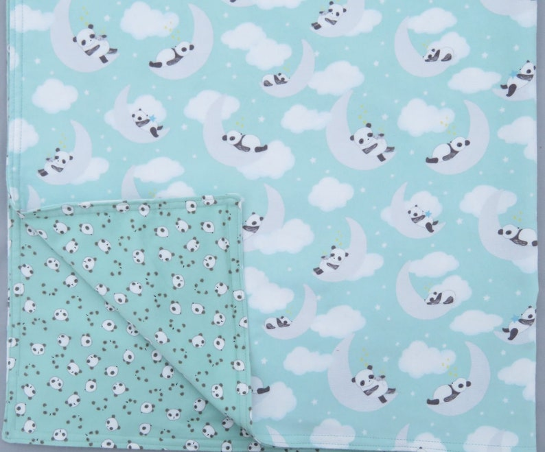 Panda Bears  Flannel Baby Blanket on Mint Green