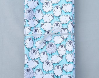 Set 6 Sheep Napkins on Aqua 100 % Cotton