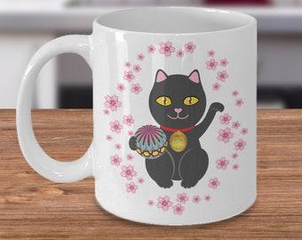 Lucky cat ceramic mug - black maneki neko for good luck