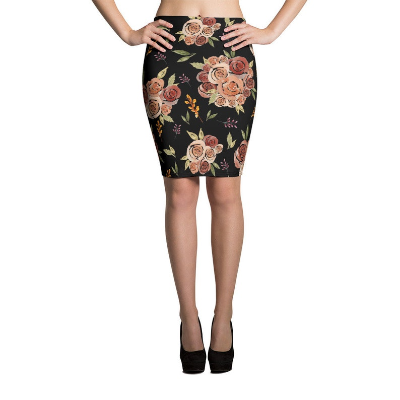 Handpainted Watercolor Floral Bouquet Print Fitted Pencil Skirt for Women  Body Con Mini Skirt  Body Conscious  Black with Roses Pattern