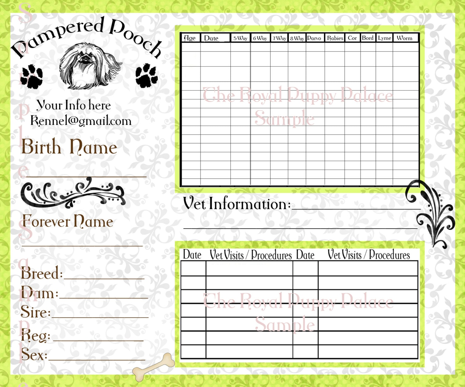 Crafty image with printable dog vaccination record