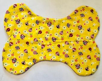 Yellow Lady Bug Doggie Bowl Bone Mat