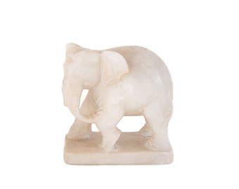 White Jade Elephant Sculpture