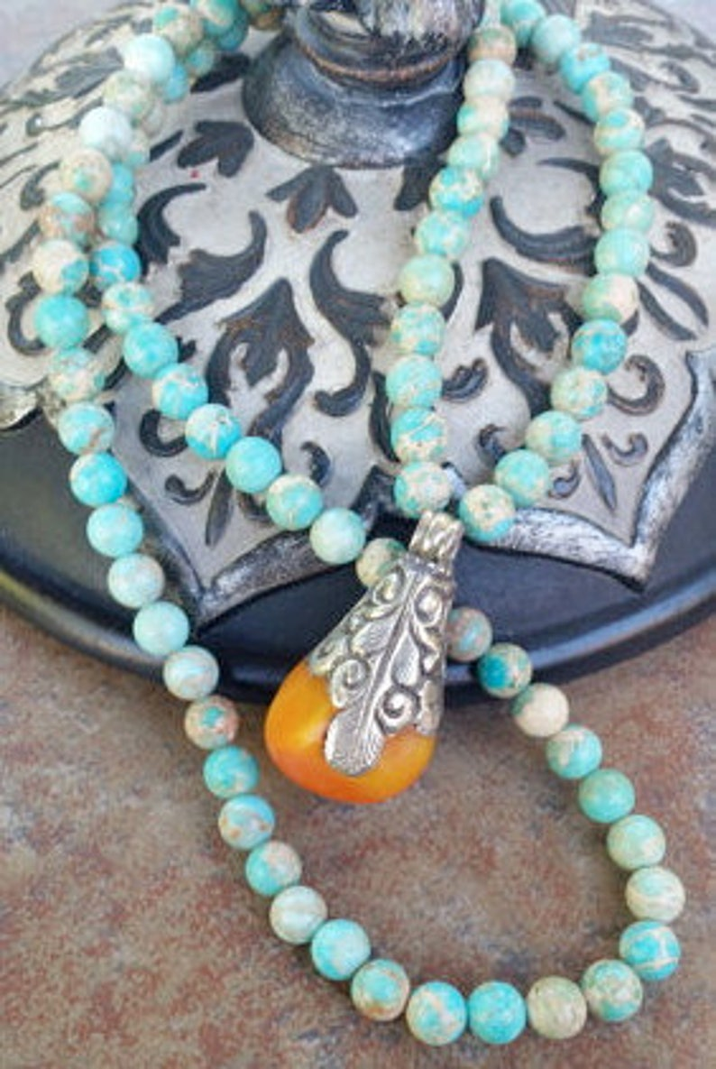 Bohemian Chic Turquoise Jasper Tibetan Silver Amber Pendant Necklace Long layering necklace
