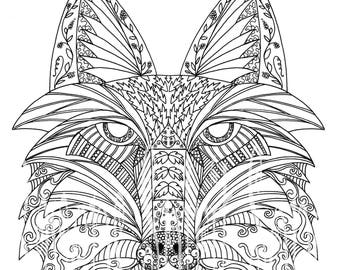 Fox Expression/ coloring page/digital stamp