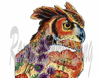 Contemplation owl digital stamp