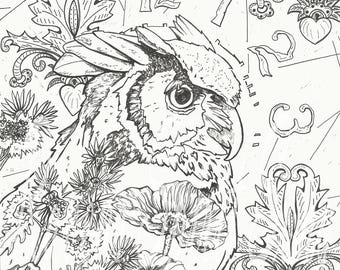 Contemplation / coloring page/digital stamp