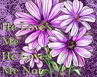Daisy parts seperate and a combined daisy bunch digital stamp