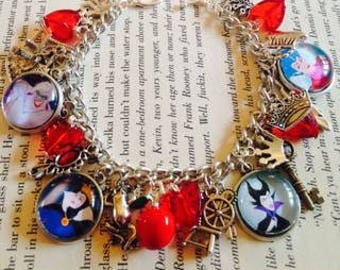 Disney Villians The Wicked Queen Ursula Maleficent Charm Bracelet