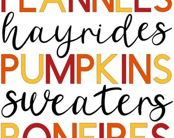Fall Favorites flannel hayrides pumpkins sweaters bonfires png jpeg tiff pdf file