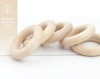 Organic 80mm Wooden Teething Rings with Natural Imperfections SALE Set of 10 pc