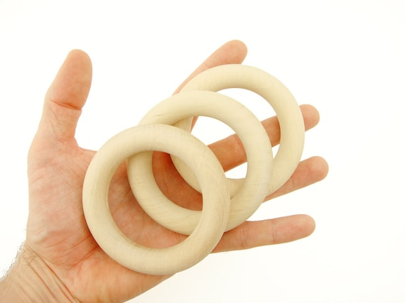 Set of 3 Organic Teething Rings 2 1//3 inches 60 mm Natural Wooden Teethers