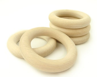 Made in Europe, 5 pcs. Organic Wooden Teething Rings Natural Untreated, 2 1/3in. 60mm., maple or beech