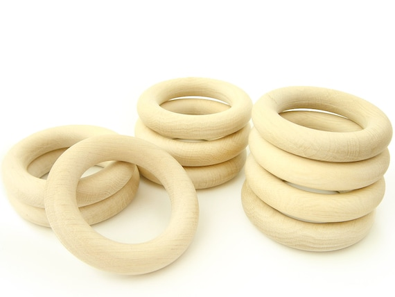 Natural Eco Toy Wooden Rings 60mm. Set of 10 Organic Teething Rings 2 1//3in