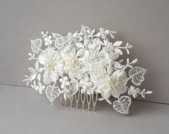 Bridal lace hair comb Ivory wedding headpiece White floral wedding hair piece Beaded lace