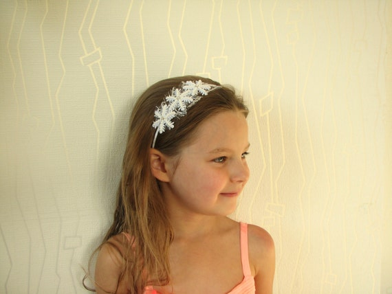 Snowflake headband white Girl hair accessory Winter weddings  8b087913849
