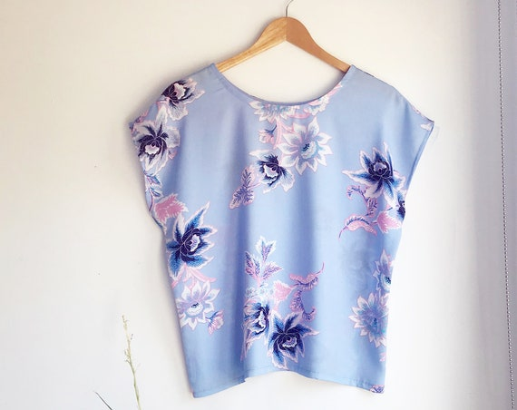 Powder Blue Batik Floral Top