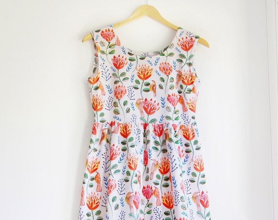 Protea Garden Dress in Organic Cotton Jersey.