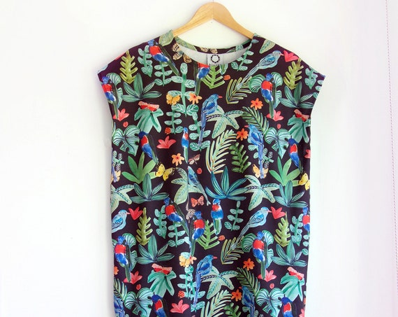 Rainforest Tee Dress with Pockets in Organic Cotton Jersey.