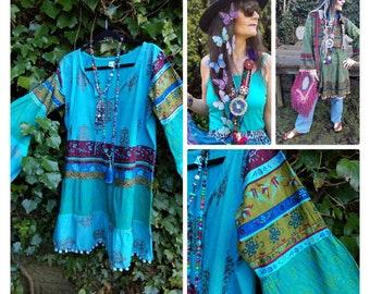 S Tie dye Festival pom pom Shorts summer beach boho hippy hippie bohemian XS