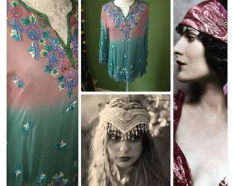 4edc03c6d66 Bohemian bead dip dyed vintage chiffon gypsy blouse tunic evening stunning  floaty gatsby small medium