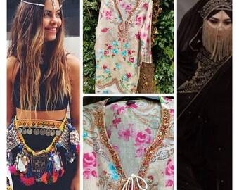 861429cda2b Vintage Bohemian gypsy roses hippy hippie boho festival Ibiza peasant folk  med tunic kurta dress layering holiday