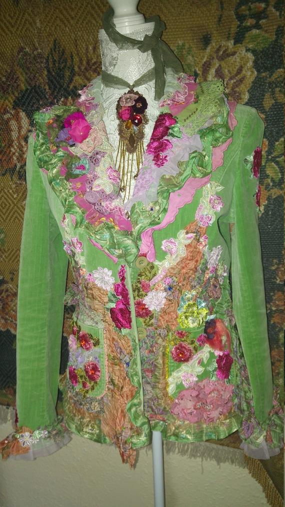 uk art gypsy dance stunning size bohemian embroiderd jacket couture boho chic OAK velvet 12 Irina to wear fY6vwqw
