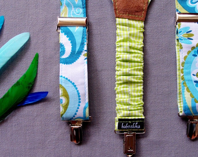 Patterned Summer Womens Suspenders, Blue green Suspenders for women, vegan Gift for sister, Women Accessory, feminine wide colorful braces