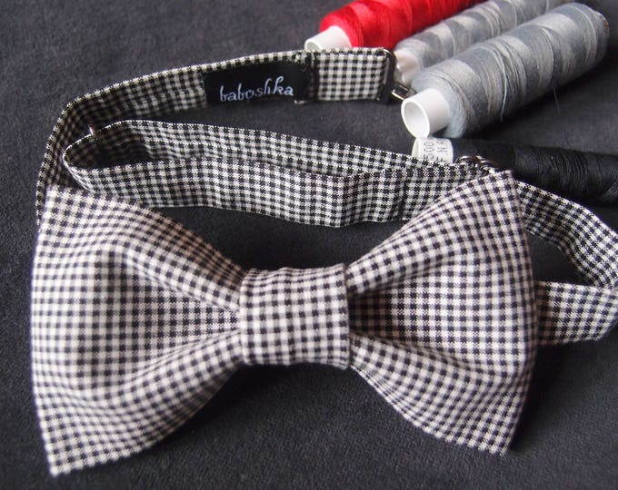 Casual Bow tie for Men, Black White Bow tie for Women, Unisex Bow Tie, Gingham Bow Tie, Checkered Pattern,  xmas gift for husband