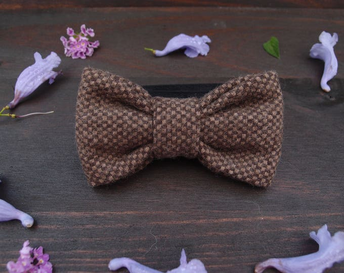 Brown Wool Bow Tie, Woolen Bow tie, Mens bow tie brown, Stylish Men Gift, Wedding bow ties, Pre tie bow tie,  Groomsmen bow tie